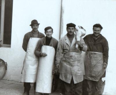 Rino Coradazzi con il cognato e due collaboratori, fin anni '70.